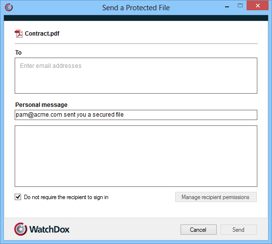 1. Right-click the file that yu want t send, and select WatchDx > Send file. 2. In the T bx, begin typing recipients email addresses. The WatchDx AutCmplete feature suggests matches as yu type.