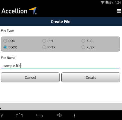 Using Accellion for Legal Vault The Interface for Legal Vault through the Android Accellion application is very straight forward. On the left hand side, you will see all your files and folders.