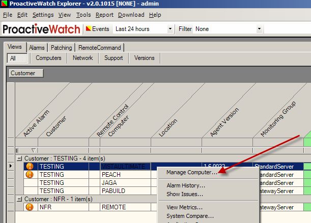 III. Managing an Individual Computer You may also work patches on an individual computer basis. From the ProactiveWatch main grid, select the row, right-click and choose Manage Computer.