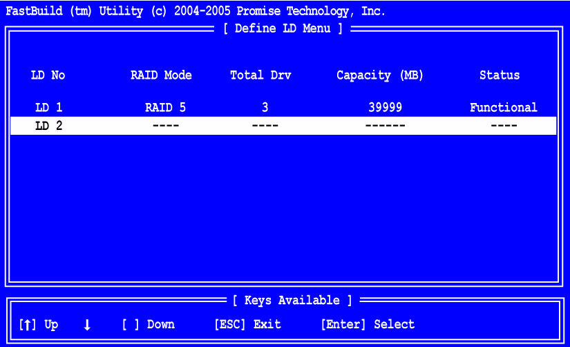 Chapter 4: FastBuild Utility When the logical drive is created, the Define LD Menu displays with the new logical drive.