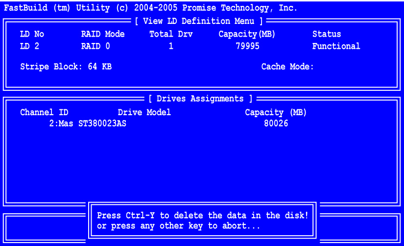 FastTrak TX2200, TX2300 User Manual 2. Highlight the logical drive you wish to delete and press the Del key or Alt-D.