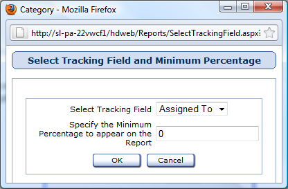 Select Tracking Field and Minimum Percentage Window Reports used in: Percentage of Issues Graph Computers by Assignment First, select the field you would like to track from the Select Tracking Field