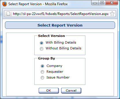 Select Report Version Window Reports used in: Billing Summary First, decide if you want to include billing details in your report and select either the With Billing Details radio button or the