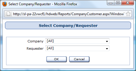 Select Company/Requester Window Reports used in: Issue Detail by Company Issue Summary by Company Assets by Requester Company/Requester Listing Products by Company/Requester First, select