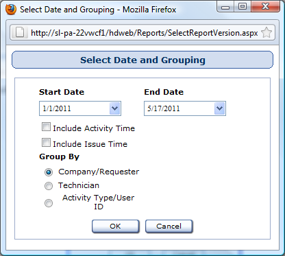 Select Date and Grouping Window Reports used in: Technician by Time Spent First, select a start date for the date range using the Start Date drop-down calendar.
