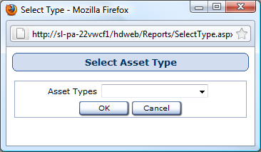 Select Company Window Reports used in: Assets by Company Select the Company name from the Company drop-down menu. Click the OK button.