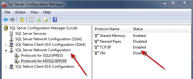 Microsoft SQL Server TSM Studio Server connects to SQL Server using a TCPIP connection.