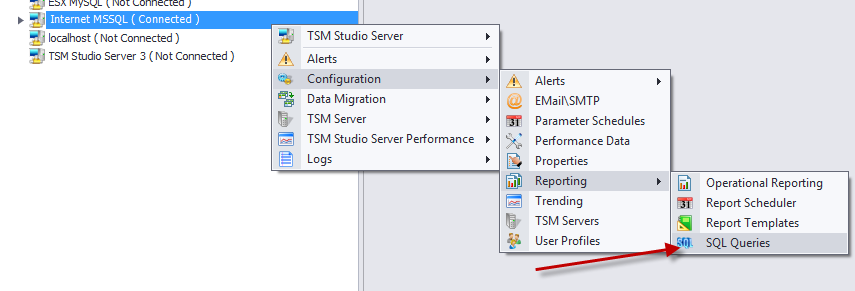 TSM SQL Queries TSM SQL Queries are accessed via the configuration menu This will start the SQL Queries dialog from which SQL Queries can be created, modified or deleted.