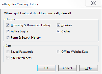 3. Select the Clear history when FireFox closes. 4. Click Settings next to clear history. 5.