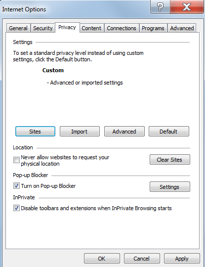 Privacy Tab 1. Select the Privacy Tab 2. If Turn on Pop-up Blocker is checked, then the pop-up blocker is turned on. You must adjust the settings to allow the SmartGrant site to use pop-up windows.