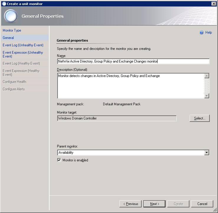 Figure 2. The different monitor types Specify the management pack you want to add the monitor to (Default Management Pack by default). Click Next. 4.