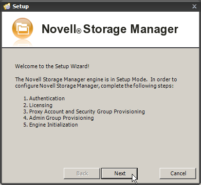 Novell Storage Manager for Active Directory 2.5.2 Installation Guide 2. Input Engine: <Your Servers IP Address or DNS Name> 3.