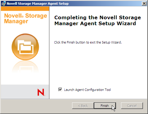 Novell Storage Manager for Active Directory 2.5.2 Installation Guide 6. Check Launch Agent Configuration Tool 7. Click Finish 8.