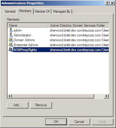 Novell Storage Manager for Active Directory 2.5.2 Installation Guide names. 12. Highlight NSMProxyRights and select the Allow Full Control permission. 13.