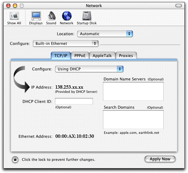 3. For Apple Macintosh Users For Apple MAC OS 8/9 3..1 Click on the Apple Menu, select Control Panel followed by TCP/IP 3..2 Ensure that the Connect Via option is set to Ethernet. 3..3 Ensure that the Configure: option is set to Using DHCP.