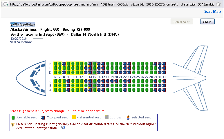 (cont d) (cont d) Airline Matrix Shop by Options 10. Select any green (unoccupied) seat and position the mouse pointer over a seat to see the seat number.