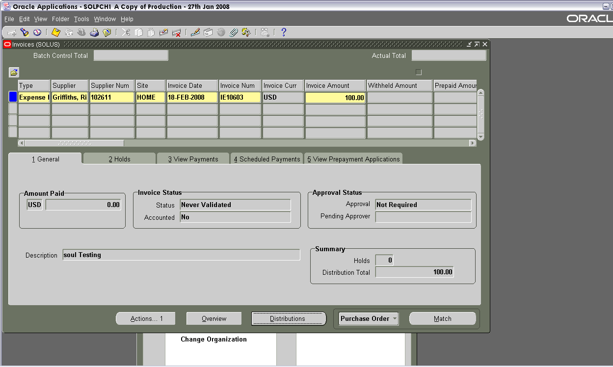 In this screen you will be shown the expense report as an Invoice transaction.
