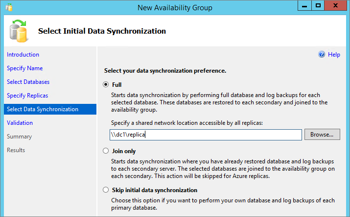 Figure 39: Configuring the Availability Group Listener 15. On the Select Initial Data Synchronization page, click Full and enter \\dc1\replica as the network share to use for synchronizing the data.