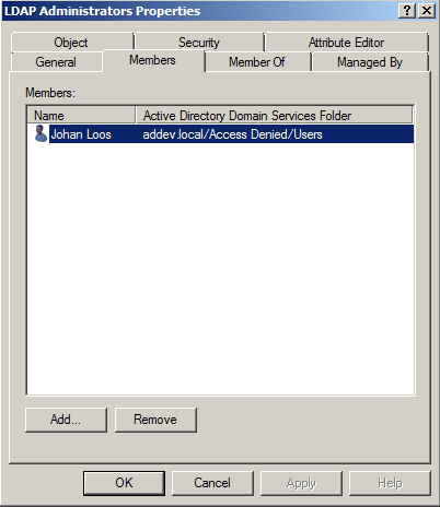 Create and configure your LDAP Administrators group in Active Directory All members of this group are allowed to logon into a server in a workgroup via LDAP.