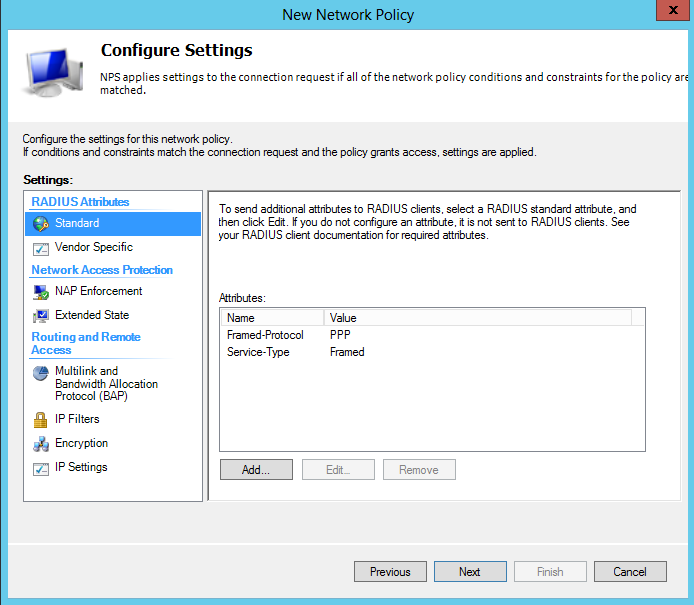 On the Configure Settings page, click Next On the Completing New Network Policy