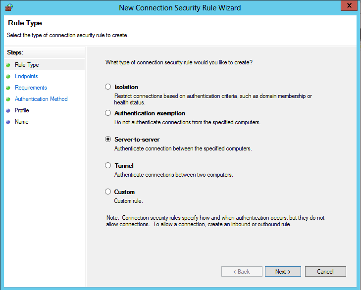 Create a Connection Security Rule on your RADIUS server (NPS Server) Right click on Connection Security Rules and select New Rule On the Rule Type page, select
