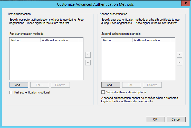 On the Customize Advanced Authentication Methods page, click Add On the Add First Authentication Method page,