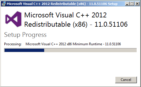 Install VC++ 2012 Redistributable Double click on your Visual C++ 2012 Redistributable File to launch to installation process Select I agree to the license terms