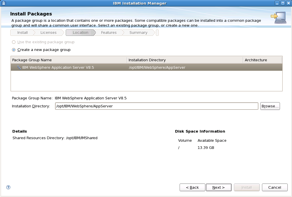 20. Select an installation directory for WebSphere Application Server, then