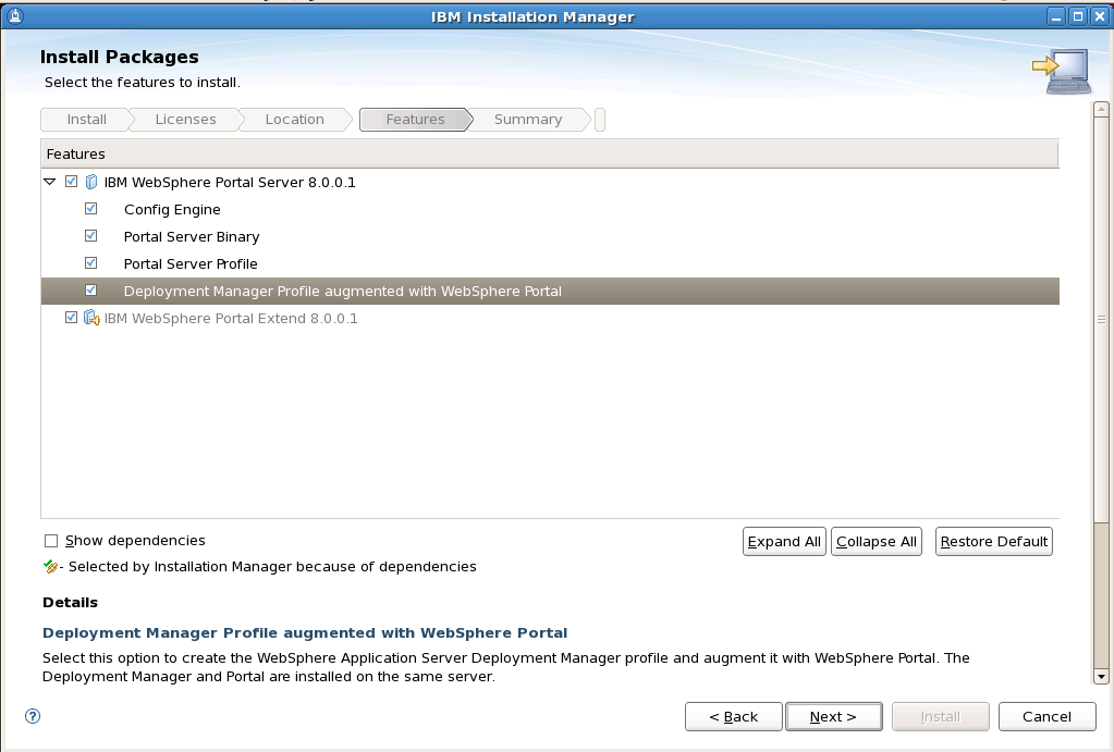 34. Select an installation directory for WebSphere Portal and click Next. 35.