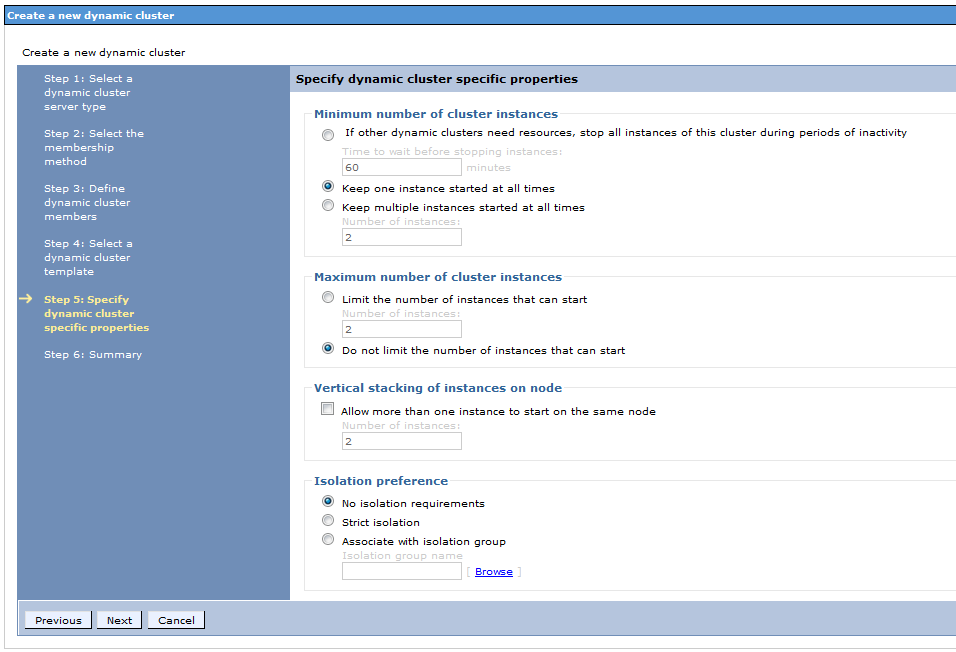 30. On the next screen, you can configure rules for how the dynamic cluster will manage your cluster members.
