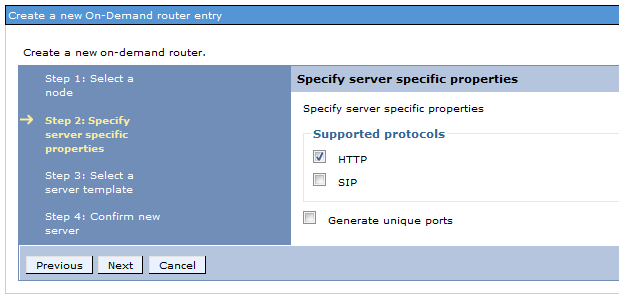 5. Select the supported protocols you'd like for your environment. IMPORTANT: WebSphere Application Server does not recommend SIP ports for production environments that require high availability.