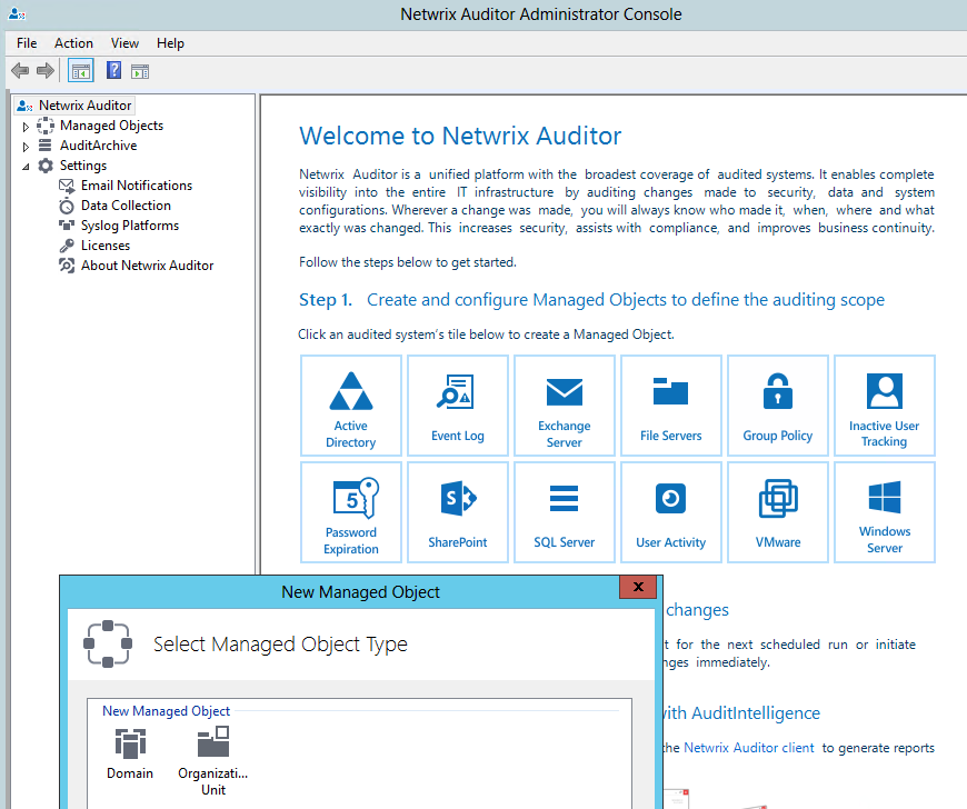 3. Start Auditing Your IT Infrastructure In the left pane, navigate to the Managed Objects node and select Create New Managed Object in the right pane.