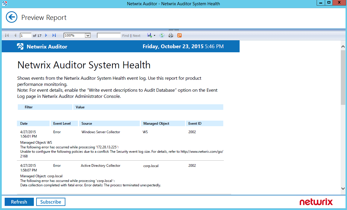 10. Additional Configuration To generate a report on Netwrix Auditor System Health Log events 1.