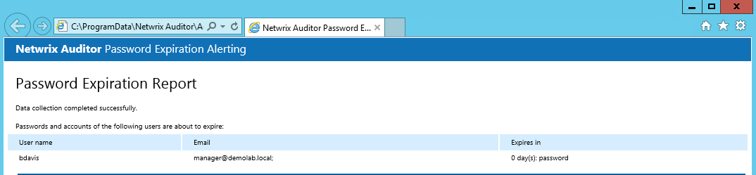 7. AuditIntelligence To generate an ad-hoc report on expiring passwords 1. In the left pane, navigate to your Managed Object Password Expiration Alerting. 2.