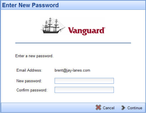 When your password reset question appears, enter your answer. Click Continue in the lower right corner.