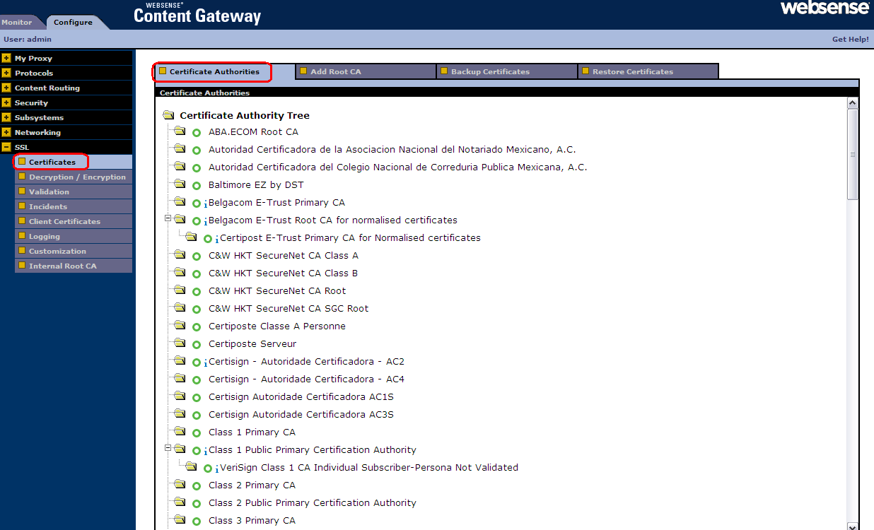 Certificate Authority Tree Used to manage all known root CAs, trusted CAs are listed New CAs are added