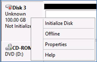 Figure 16 New disk detected c. Right-click on the new disk and choose Online. Figure 17 Bring disk online d. The disk will now show as Not Initialized.