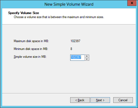 Figure 22 New simple volume wizard iii. Specify the volume size, and click Next. Figure 23 Specify volume size iv.