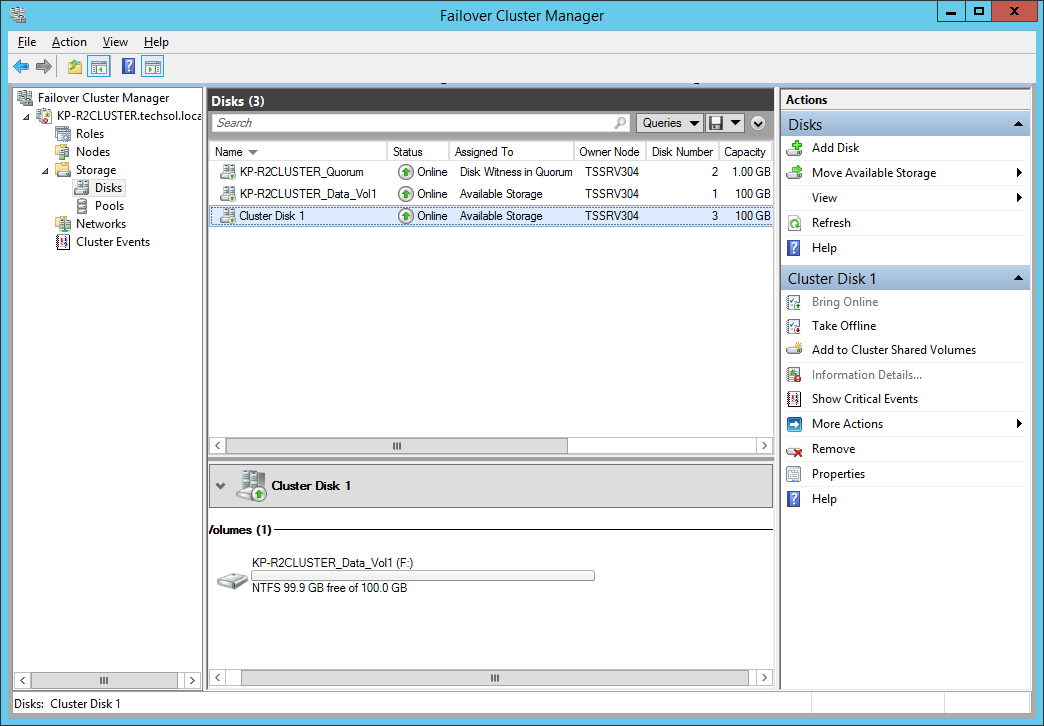 Figure 40 Add disk to cluster 4. The newly added disk will be shown in Failover Cluster Manager.