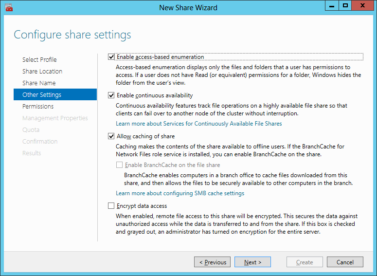 4. Enter a share name and click Next. Figure 66 Specify share name 5. Configure share settings. Click Next to continue.