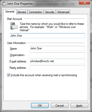 Windows Mail Open Windows Mail From the Menu Bar Click on Tools to Account John Doe Click on mail.