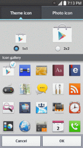 Tap the Photo icon tab to create a new icon using images from the Gallery. Tip: Tap 1x1 or 2x2 to change the icon size.