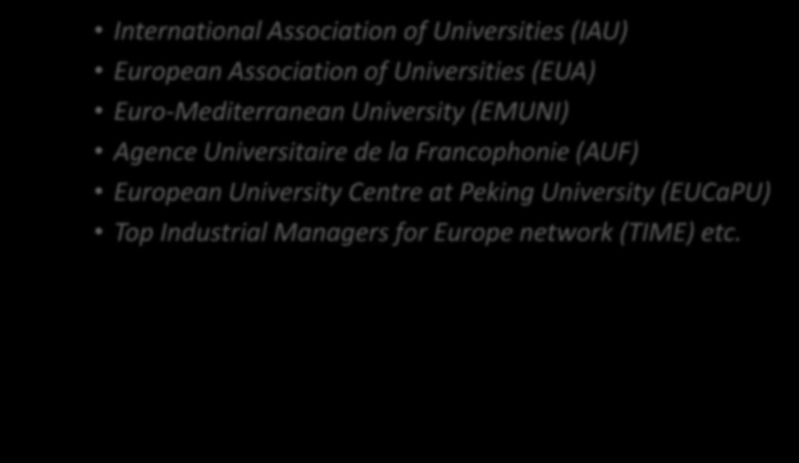 Participation in International Organizations, Associations and University Networks The international standing of Aristotle University of Thessaloniki is strengthened by its active participation in 41