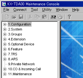 3.3 Installation of the KX-TDA15 Maintenance Console 7. Follow the instructions of the wizard and assign the basic items (Quick Setup). The programme menu appears. Notice 1.