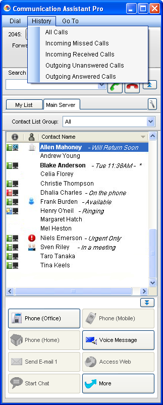 4 Call History Review/Recall Call History (1) You can open the call history