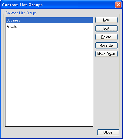 7.4 Contact List Group 7.4 Contact List Group You can display lists of contacts in groups. You can add or edit contact groups.