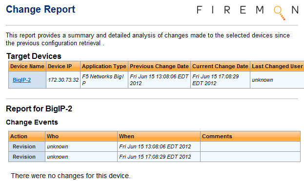 Figure 6: FireMon showing the new BIG-IP device Figure 6 shows that the device is actively being poled for changes and a listing of when the changes have been detected.