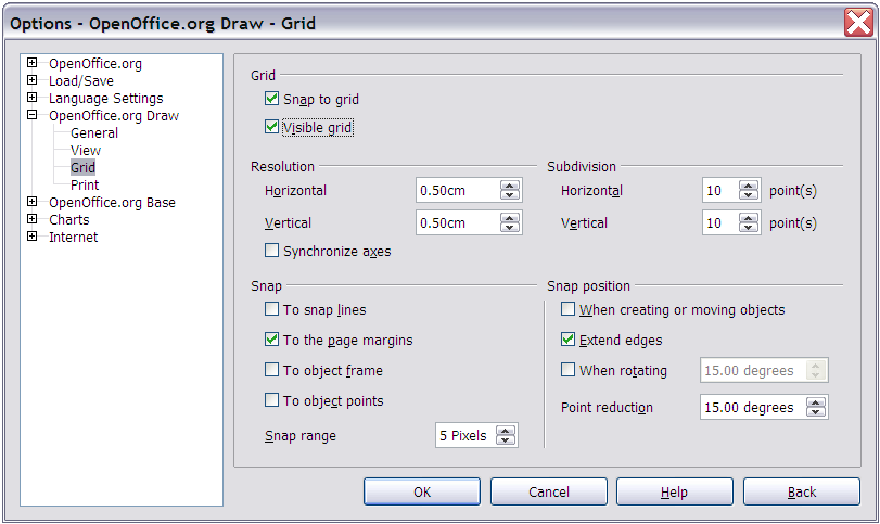 Showing the grid Figure 8: Exact positioning with snap to grid To make the grid visible, choose View > Grid > Display Grid.