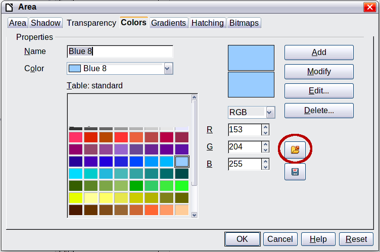 Figure 7. Changing the color palette Click on the Edit button to open the Color dialog, where you can set individual colors. See Color options in Chapter 2, Setting Up LibreOffice, of this book.