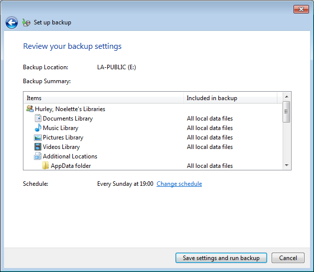 Figure 10: Expand System (C:) - Select relevant folders Click Next Review your backup settings window will display Figure 11: Review Settings o If you
